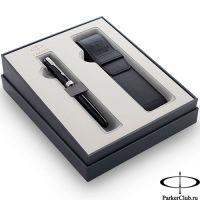 2121709 Подарочный набор Parker (Паркер) Sonnet Black CT из перьевой ручки и чехла