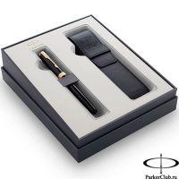 2121710 Подарочный набор Parker (Паркер) Sonnet Black GT из перьевой ручки и чехла