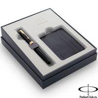 2121991 Подарочный набор Parker (Паркер) Sonnet Black GT из перьевой ручки и футляра для кредитных карт